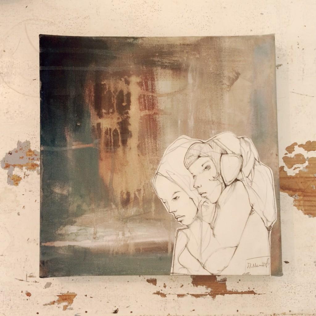 30x30cm, aquarell, papier,graphit auf leinwand