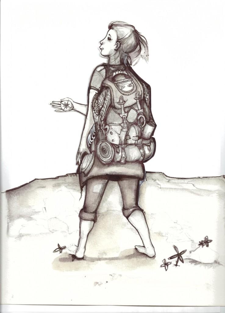 Zeichnung-Wandersfrau